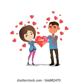 Man and woman in love are standing together and holding a big heart.
