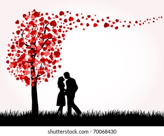 Man, Woman and Love tree with hearts on a grass, illustration