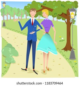 Man and woman in love walking in park on a sunny spring day (vector illustration)