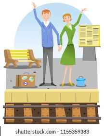 Man and woman with luggage waving their hands at track in railway station (vector illustration)