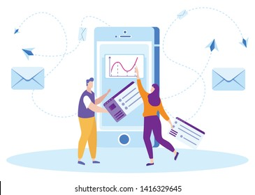 Man and Woman Make Newsletter. Distance Learning. Lesson Online. E-Learning. White Background. New Technologies. Vector Illustration. E-learning Around World. Remote Access. Correspond with Teacher.
