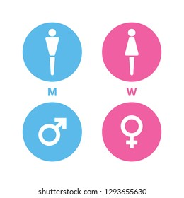 Man and Woman, Male and Female, WC, Toilet, Gender sign icon vector. blue and pink color isolate on white background.