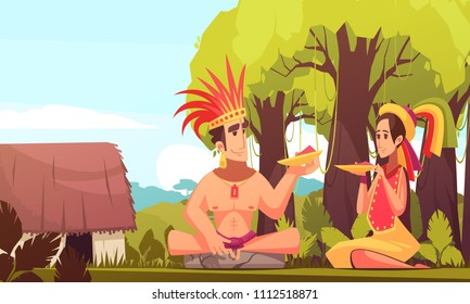 Man and woman from maya family wearing traditional costumes eating outdoors near their hut cartoon background vector illustration