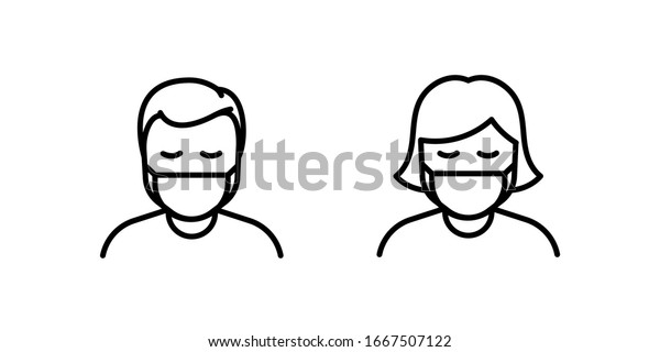 Man and Woman in medical face protection mask. Vector icon of depressed and tired people wearing protective surgical mask. illustration for concepts of disease, sickness, alergies, pollution, corona v