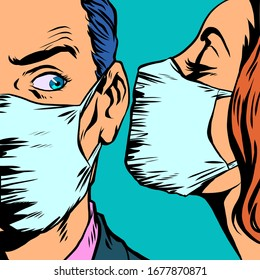 man and woman in medical masks. Pop art retro vector illustration vintage kitsch 50s 60s style