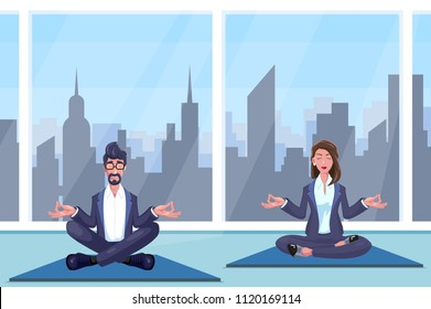 Man and woman meditates sitting on rug at office.Vector illustration.