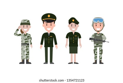 Man and woman military people or personnel dressed in various uniform. Set of flat cartoon characters. Vector illustration.