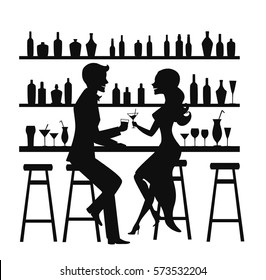 Man and woman night out date, romantic elegant couple sitting at the bar counter, drinking cocktails silhouette vector illustration