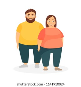 A man and a woman with obesity. Unhealthy Lifestyle. Incorrect food.