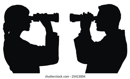 man and woman observers vector illustrations