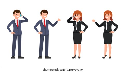 Man and woman office workers cartoon character. Vector illustration of male and female use phone and thumb up