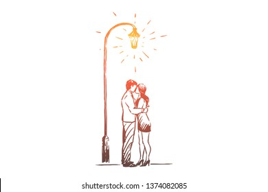 Man and woman on date in park, romantic evening, valentine day celebration, happy couple hugging, late walk. Sensual kiss under street lantern concept sketch. Hand drawn vector illustration