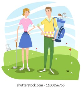 Man and woman on golf course, man carrying golf bag (vector illustration)