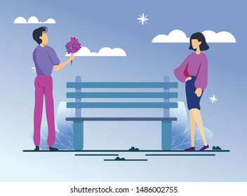 Man and Woman on Romantic Date in Park at Night. Cartoon Guy Giving Elegant Lady Flower Bouquet. First Dating. Bench and Starry Sky. Successful People in Love. Vector Flat Natural Illustration