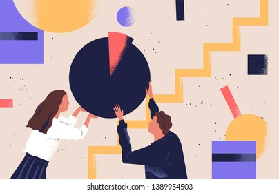 Man and woman organizing abstract geometric shapes. Pair of people holding round pie chart. Cute funny boy, girl and circular diagram. Colorful vector illustration in modern flat cartoon style.