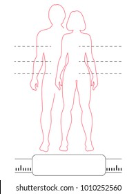 Man and woman outline silhouettes with pointers and scale. Vector isolated infographic of red contour human bodies.