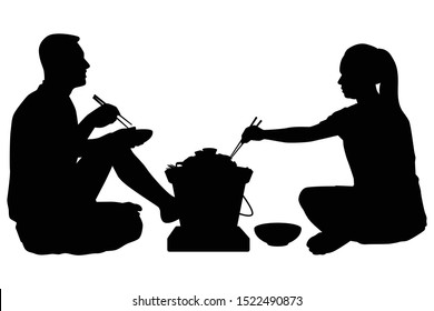 A man and a woman in party with pork grilled pan silhouette vector