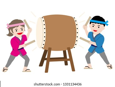 Man and woman performing traditional taiko drum, vector illustration.