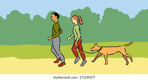 Man and woman with pet dog jogging outside, green clothing