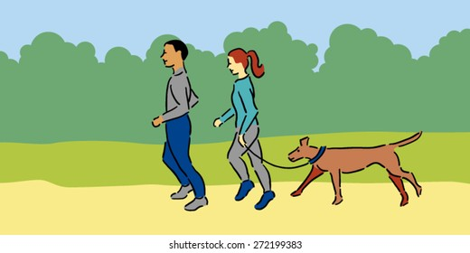 Man and woman with pet dog jogging outside, blue clothing