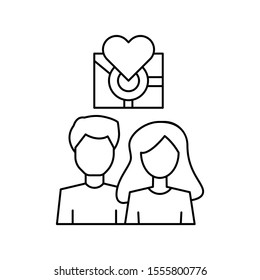 Man woman placeholder gps icon. Simple line, outline vector of having feelings icons for ui and ux, website or mobile application