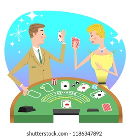 Man and woman playing black jack at gambling table (vector illustration)