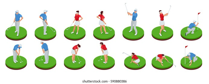 Man and woman playing golf on a golf course. Golf-club concept. Isometric Sport design elements. Flat vector set.