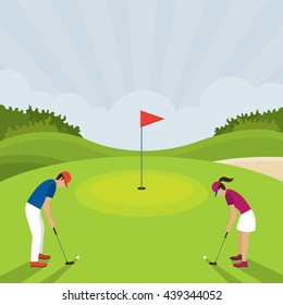 Man and Woman Playing Golf, Putt, on Green