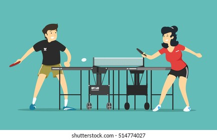 a man and woman playing table tennis. Vector illustration.