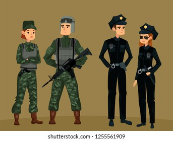 Man and woman police near male and female soldiers. Policeman and policewoman and cartoon american troops, special force. Military officers and guard service. People and warrior, work and job theme