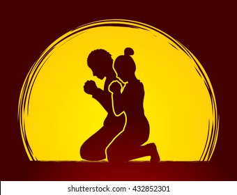 Man and Woman pray together designed on moonlight background graphic vector