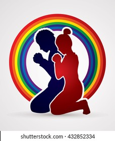 Man and Woman pray together designed on rainbows background graphic vector