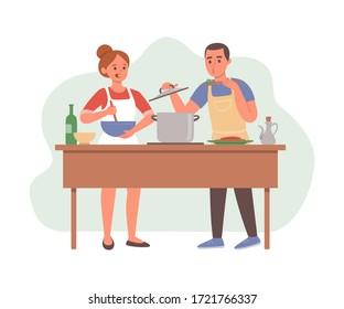 Hombre y mujer preparando comida en la cocina. Pareja cocinando el almuerzo o la cena juntos en casa. Familia divirtiéndose juntos.  Ilustración vectorial aislada en fondo blanco.