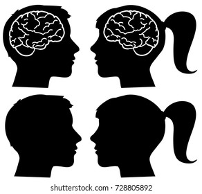 Man and woman profile black silhouettes with visible brain vector
