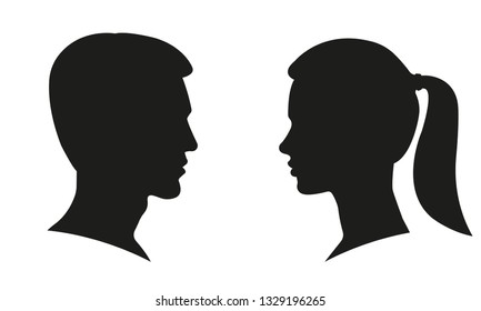 Man and Woman Profile Face Silhouette. Male and female head illustration. Vector.