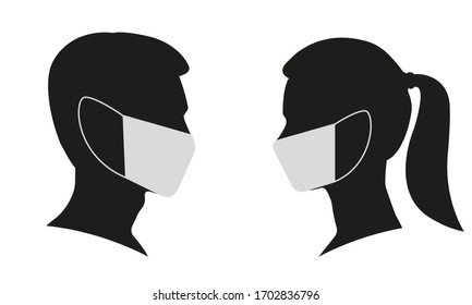 Man and Woman profile face silhouette in medical mask. Male and female head illustration. Vector illustration.