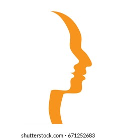 Man and woman profiles. Human profile with big and small nose. Vector
