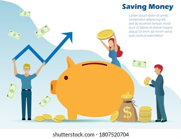 Man and woman put gold coins and bank notes in piggy bank. Idea for saving money and raising profit, financial investment in banking business.