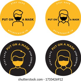 man and woman put on a mask sign icon