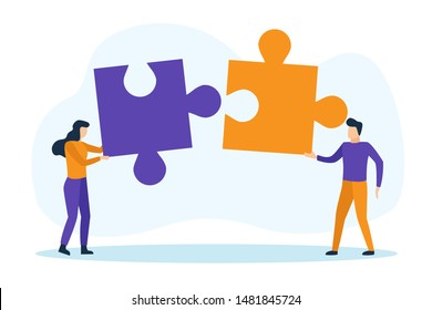 Man and woman with puzzle pieces working together. Teamwork concept. Vector illustration