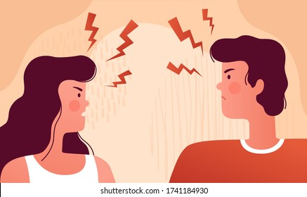 Man and woman quarrel and swear at each other. The psychological concept of family quarrel, conflict and misunderstanding