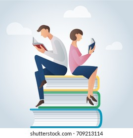 man and woman reading books sitting on many books vector illustration