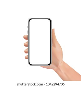 Man or woman realistic hand holding mobile phone with blank touch screen. Advertisement template design concept with smartphone isolated on white background. Digital marketing. Vector illustration