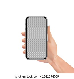 Man or woman realistic hand holding mobile phone with transparent touch screen. Advertisement template design concept with smartphone isolated on white background. Vector illustration