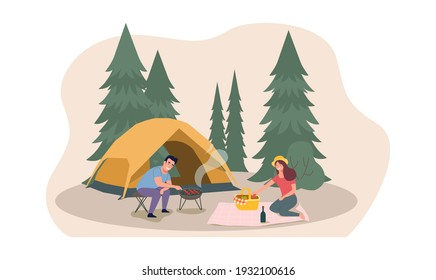 A man and a woman are relaxing in nature in a tent camp. Vector flat style illustration.