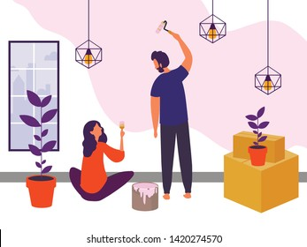 Man and woman repairing a wall in home. Family colours they first flat. Vector illustration in modern style. Flat desing.