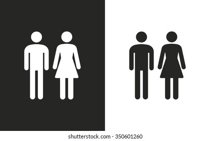 Man and Woman restroom -  black and white icons. Vector illustration