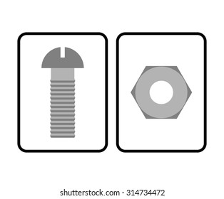 Man and Woman restroom sign. Toilet symbol bolt and nut. Humorous allegorical vector illustration.