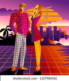 man and woman in retro city