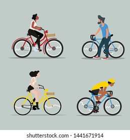 man and woman riding a bicycle vector set
